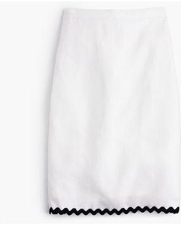Tall Linen Pencil Skirt With Rickrack Trim