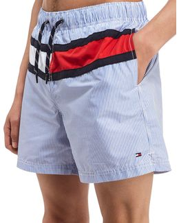 Pinstripe Swim Shorts