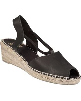 Dainty Wedge Espadrille Black Leather