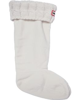 Boot Sock Cable Stitch White