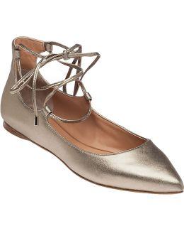 Viata Platinum Leather Lace Up Flats