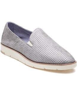 Paulette Perforated Silver Leather Slip On