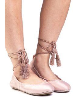 Bandele Ballet Flat Mushroom Satin