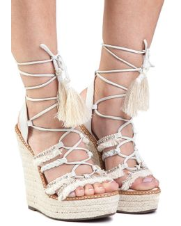 Talina Pearl Lace Up Wedge