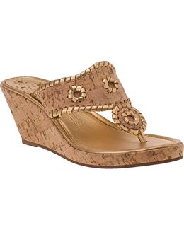 Marbella-mid Wedge Sandal Natural Cork