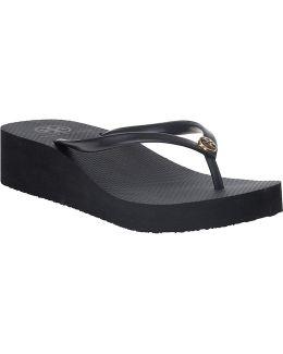 Wedge Enamel Flip Flop Black