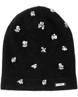 Eva Black Blend Cashmere Knitted Beanie With Crystals