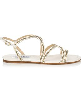 Nickel Flat Latte Leather Flat Sandals
