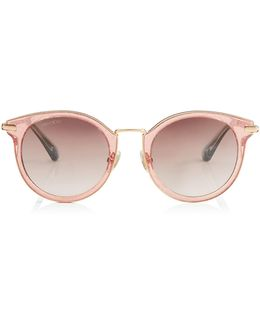 Raffy Red Glitter And Metal Round Framed Sunglasses