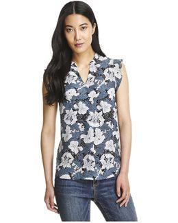 Print Silk Flutter Sleeve Blouse