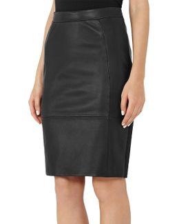 Avril Leather Panel Skirt