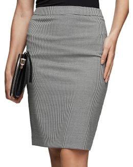 Mason Tailored Houndstooth Formal Skirt