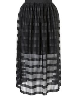 Pleated Net Midi Skirt