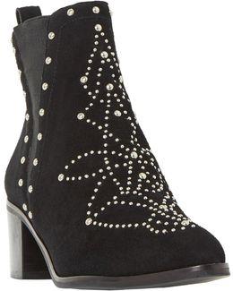 Octal Block Heeled Embellished Ankle Boots