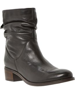 Promiss Leather Buckle Detail Biker Ankle Boots