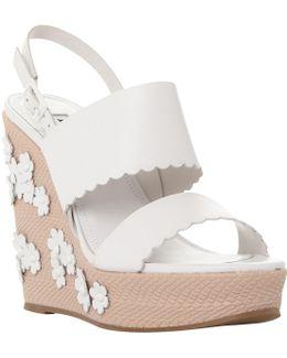 Kensington Flower Applique Wedge Sandals