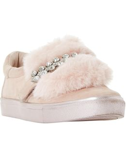 Endless Faux Fur Embellished Trainers