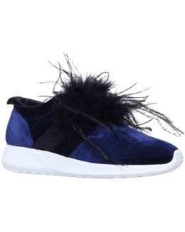 Lucille Feather Embellished Slip On Trainers