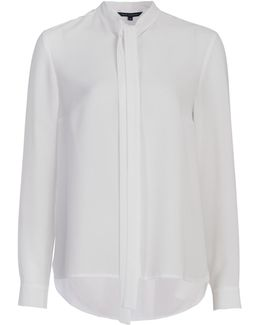 Pippa Plains Long Sleeve Tie Neck Shirt