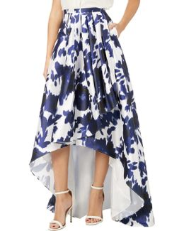Floral Printed High Low Ball Skirt With Draped Pleating