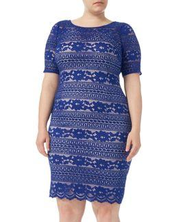 Plus Size Corded Lace Shift Dress