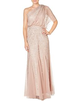 One Shoulder Beaded Blouson Gown