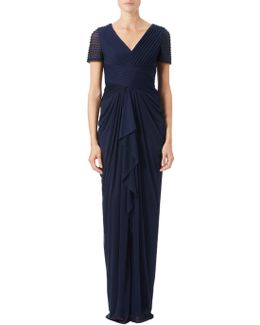 Petite Pin Tucked And Draped Gown
