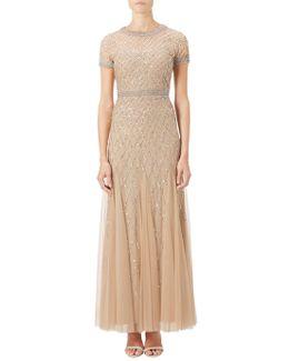 Petite Short Sleeved Beaded Godet Gown
