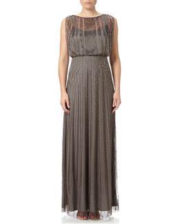 Extended Cap Sleeve Bead Blouson Maxi Dress