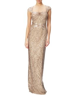 Cap Sleeve Envelope Back Beaded Gown