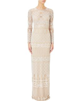 Illusion Long Sleeve Beaded Gown