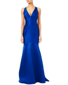 Mikado Plunging V-neck Gown