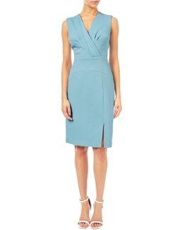 Jacquard Pleated Sheath Dress