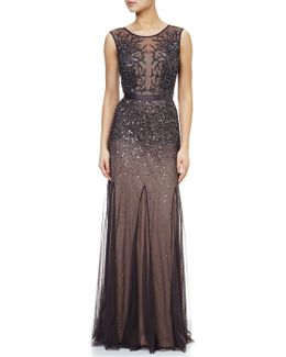 Petite Long Beaded Gown