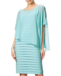 Banded Dress With Chiffon Overlay