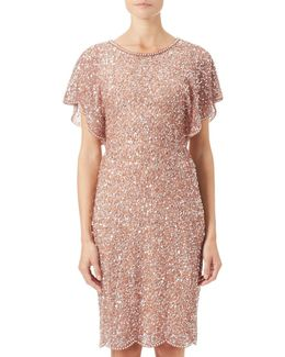 Flutter Sleeve Beaded Dress