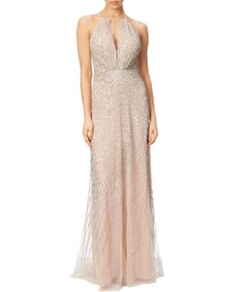 Halterneck Fully Beaded Gown