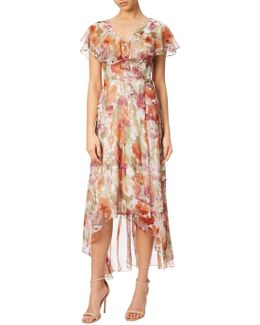 Floral Print Wrap Dress With Long Ruffle