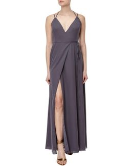 Spaghetti Strap Wrap Evening Gown