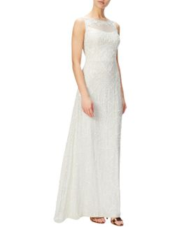 Petite Illusion Beaded Lace Gown