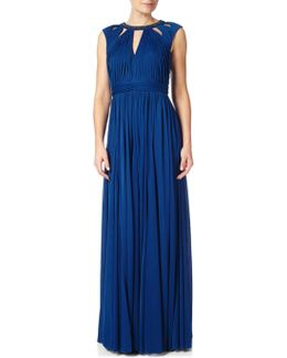 Plus Size Shirred Neckline Maxi Dress