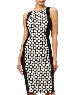 Plus Size Jacquard Blocked Sheath Dress
