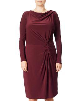 Plus Size Knot Front Draped Dress