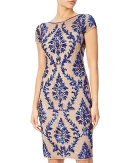 Cap Sleeve Beaded Sheath Dress