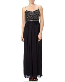 Sleeveless Beaded Bodice Chiffon Gown