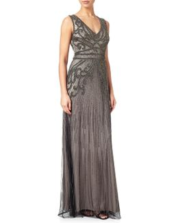 Fully Beaded Sleeveless Gown