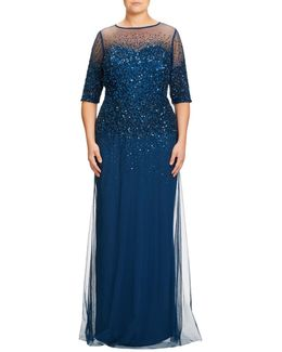 Plus Size Beaded Illusion Gown