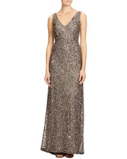 Petite V Neck Crunchy Beaded Gown