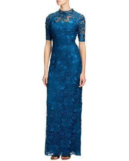 Guipure Lace Round Neck Floor Length Dress