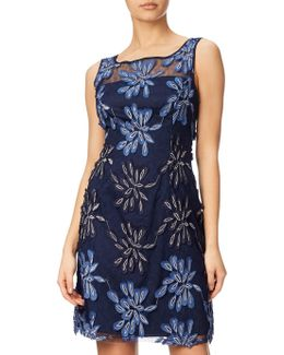 Petite Embroidered Floral Fit And Flare Dress